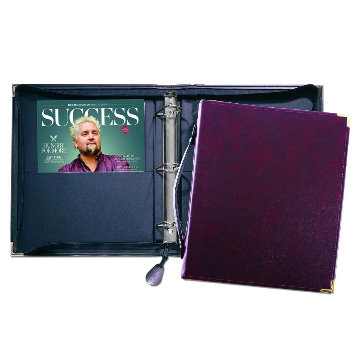 "Zippered 1 1/2"" D-Ring Binder with Strap"